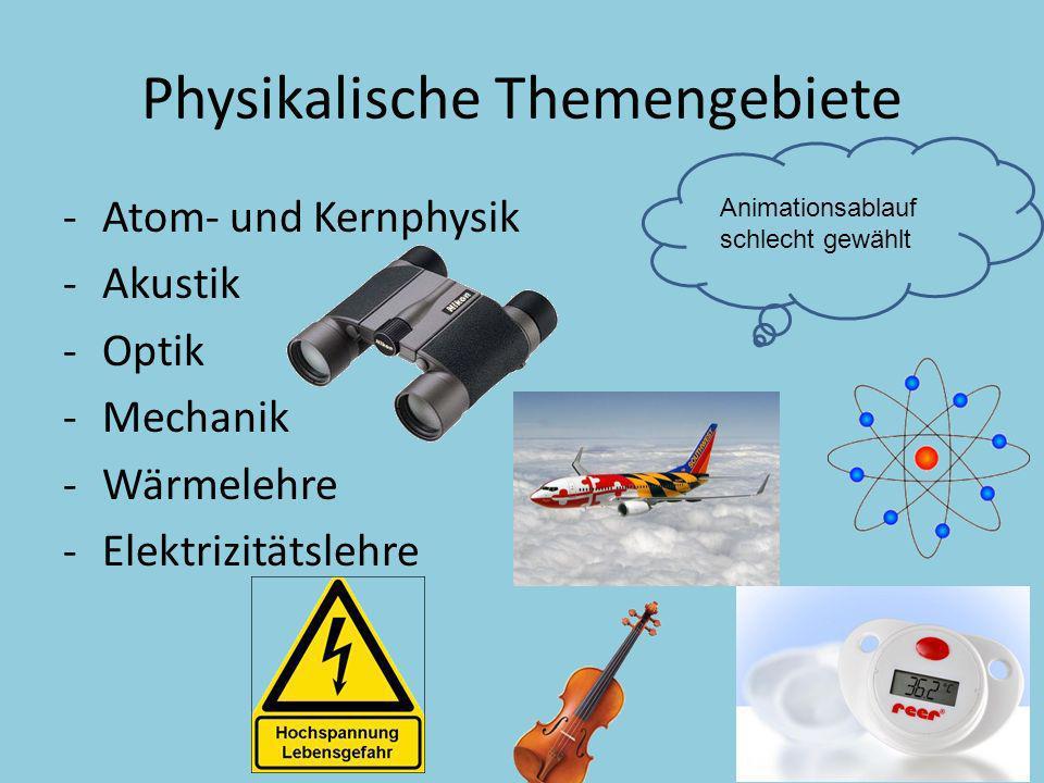 Physikalische Themengebiete