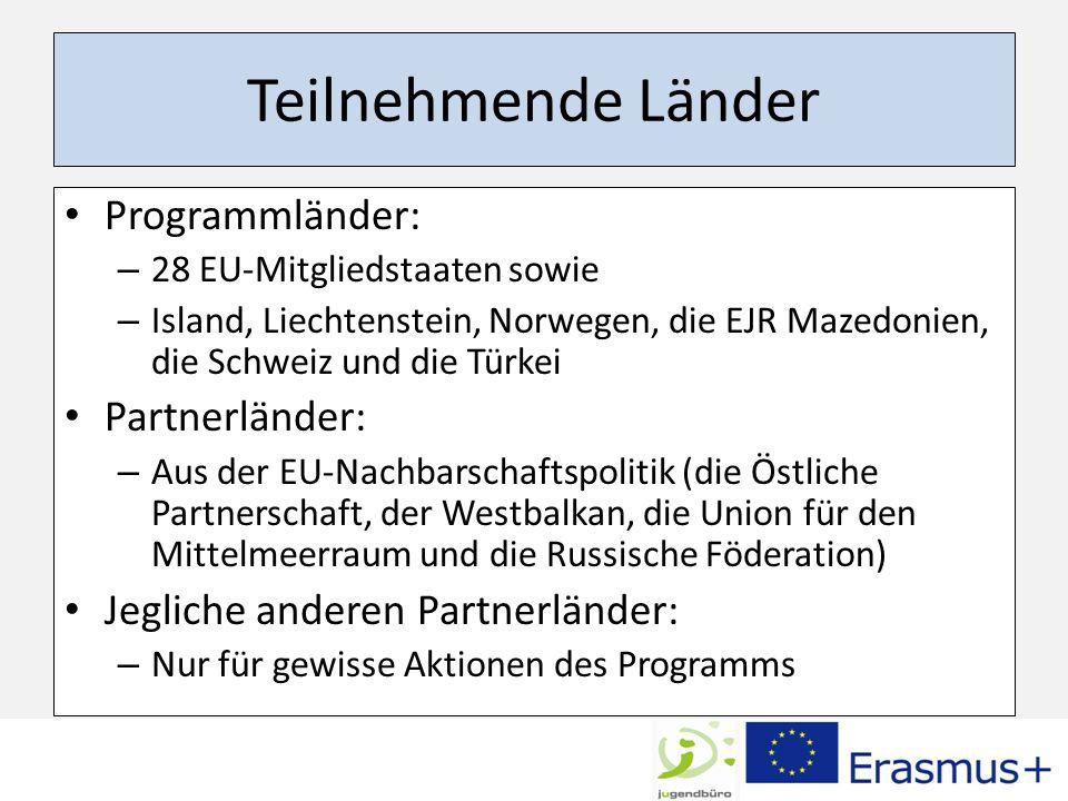 Teilnehmende Länder Programmländer: Partnerländer: