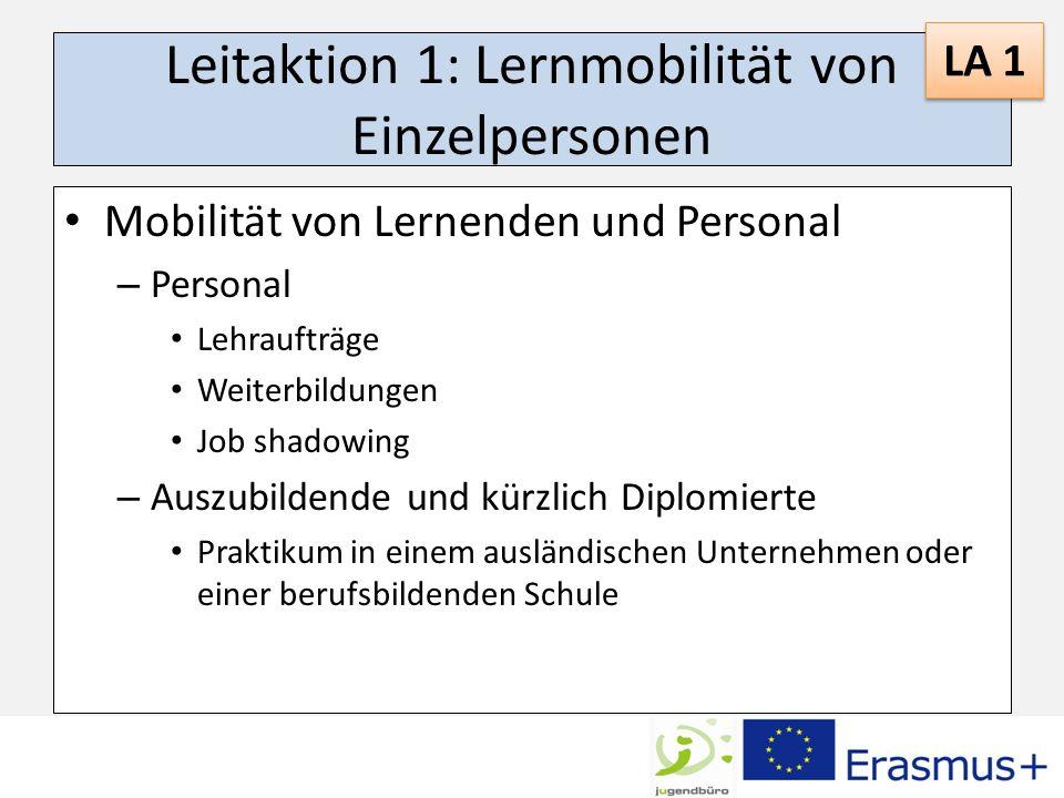 Leitaktion 1: Lernmobilität von Einzelpersonen