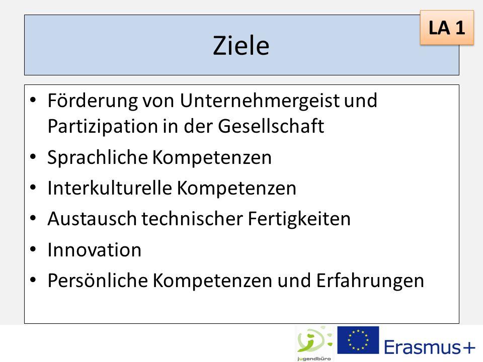 LA 1 Ziele. Förderung von Unternehmergeist und Partizipation in der Gesellschaft. Sprachliche Kompetenzen.