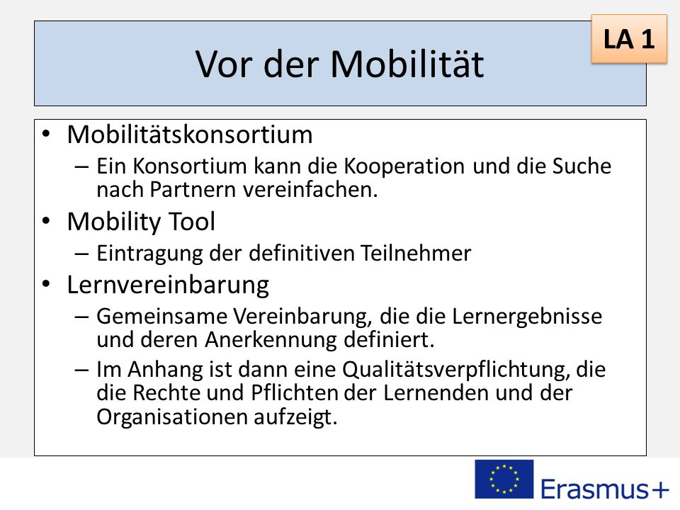 Vor der Mobilität LA 1 Mobilitätskonsortium Mobility Tool