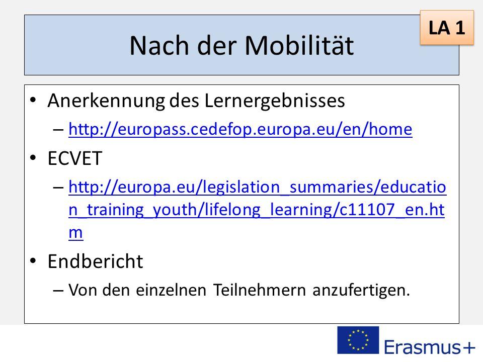 Nach der Mobilität LA 1 Anerkennung des Lernergebnisses ECVET