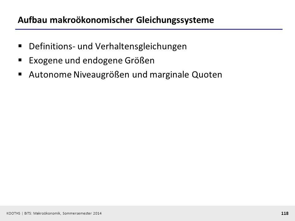 Aufbau makroökonomischer Gleichungssysteme