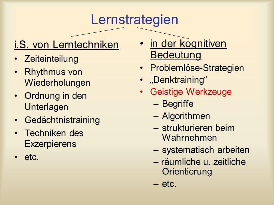 Lernstrategien i.S. von Lerntechniken in der kognitiven Bedeutung