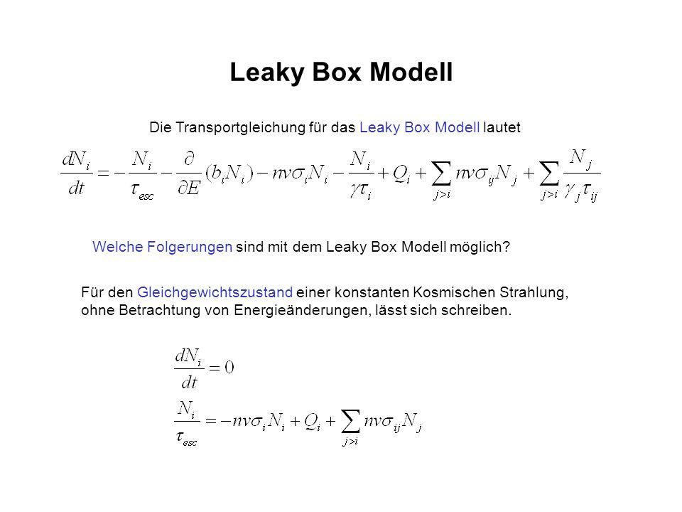 Leaky Box Modell Die Transportgleichung für das Leaky Box Modell lautet. Welche Folgerungen sind mit dem Leaky Box Modell möglich