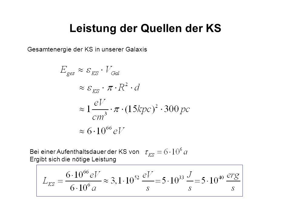 Leistung der Quellen der KS