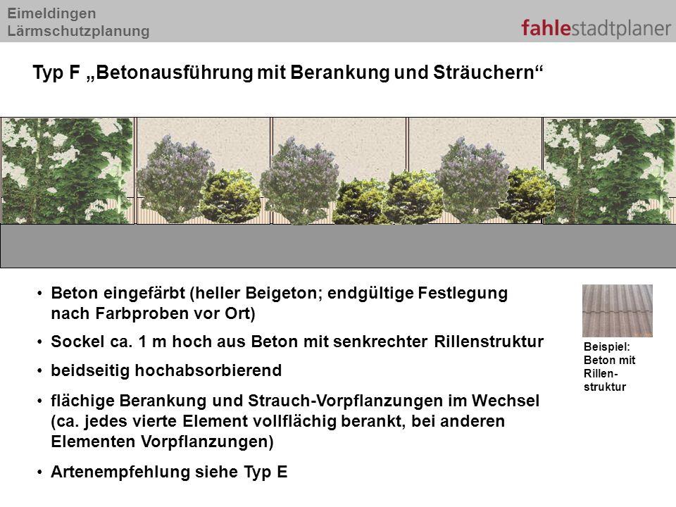"""Typ F """"Betonausführung mit Berankung und Sträuchern"""