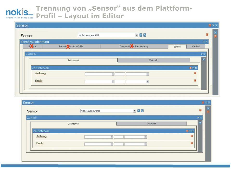"""Trennung von """"Sensor aus dem Plattform-Profil – Layout im Editor"""