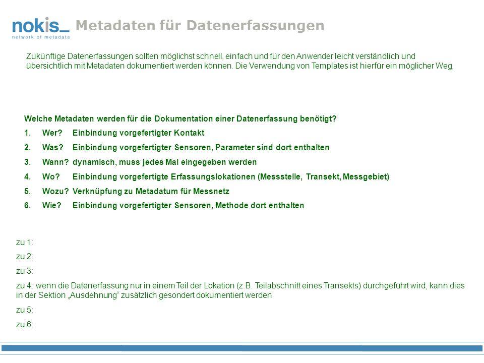 Metadaten für Datenerfassungen