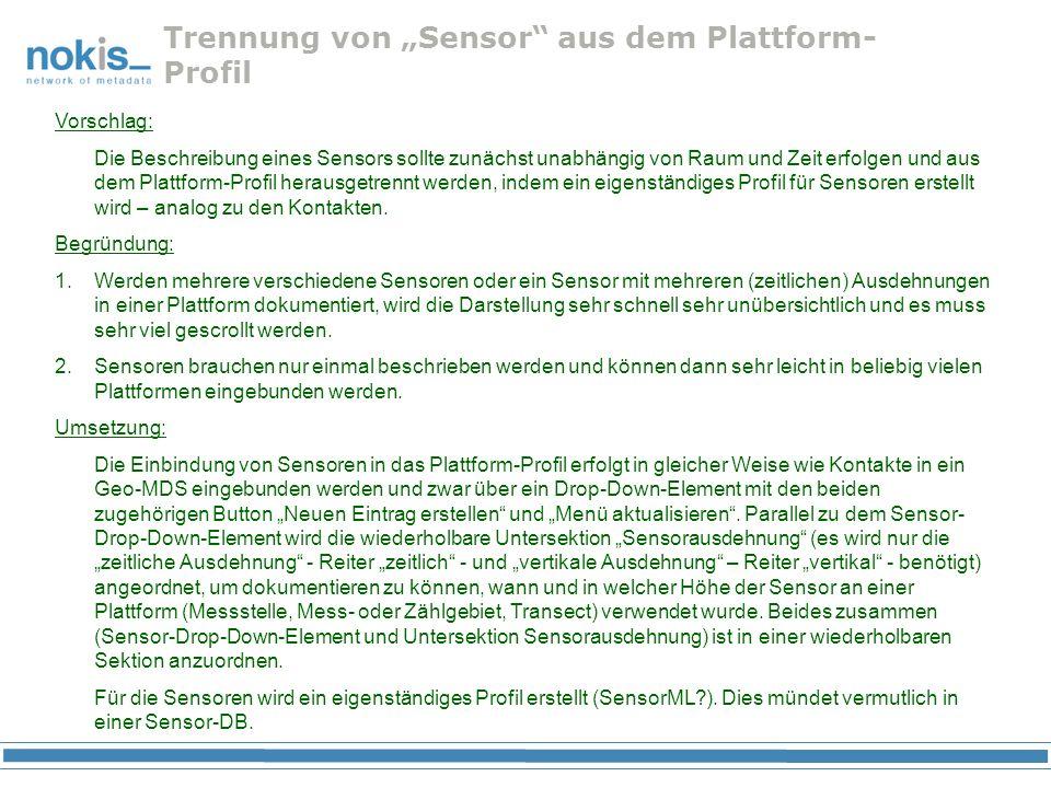 """Trennung von """"Sensor aus dem Plattform-Profil"""