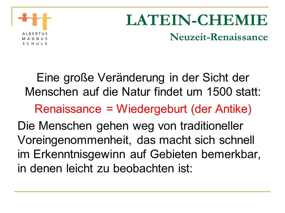 LATEIN-CHEMIE Neuzeit-Renaissance