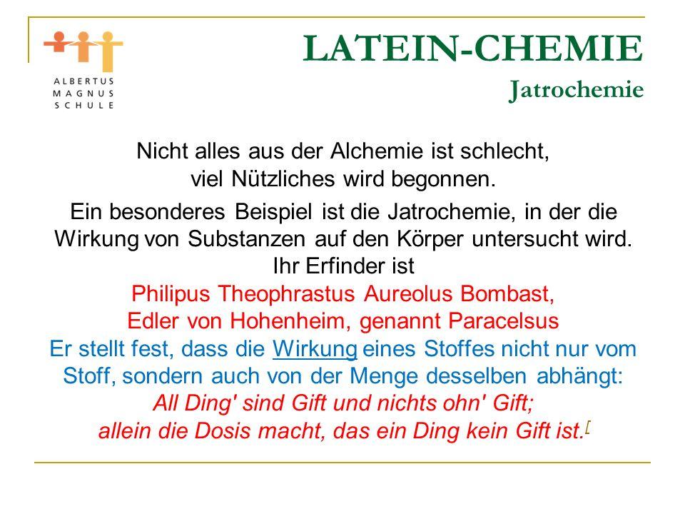 LATEIN-CHEMIE Jatrochemie