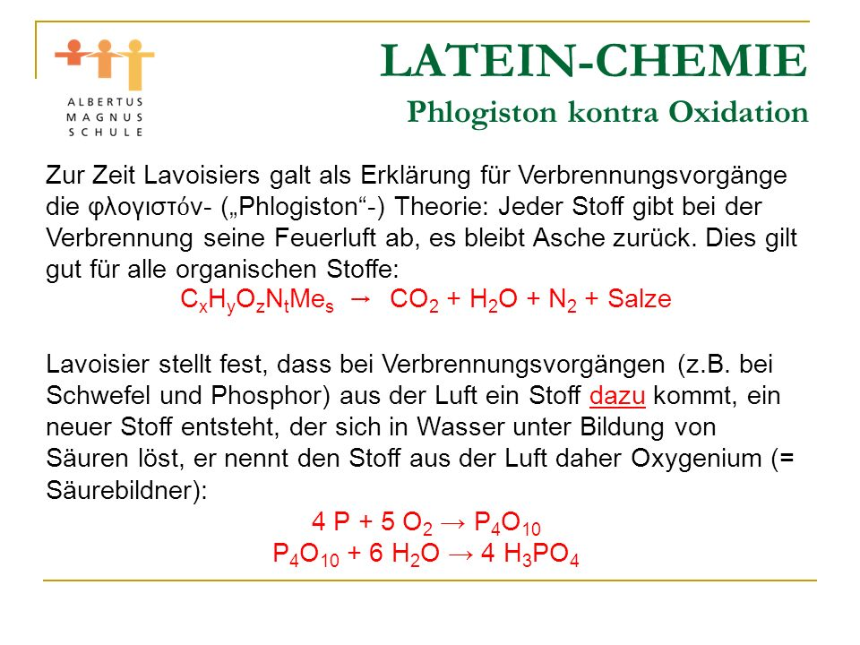 LATEIN-CHEMIE Phlogiston kontra Oxidation