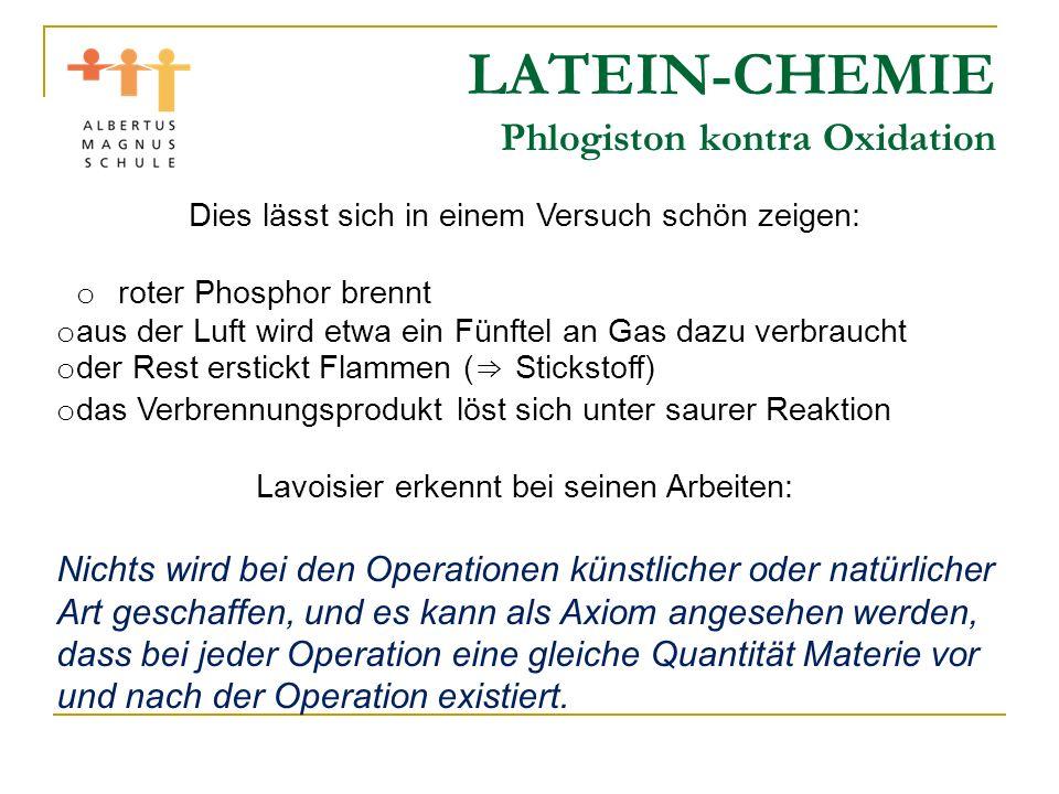 LATEIN-CHEMIE Phlogiston kontra Oxidation