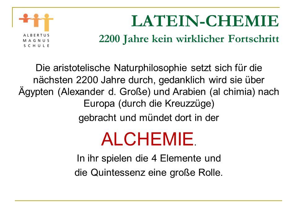 LATEIN-CHEMIE 2200 Jahre kein wirklicher Fortschritt
