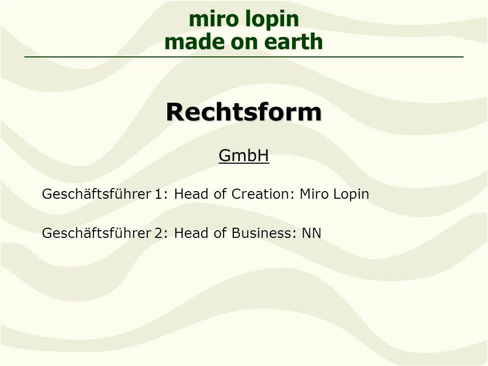 Rechtsform GmbH Geschäftsführer 1: Head of Creation: Miro Lopin
