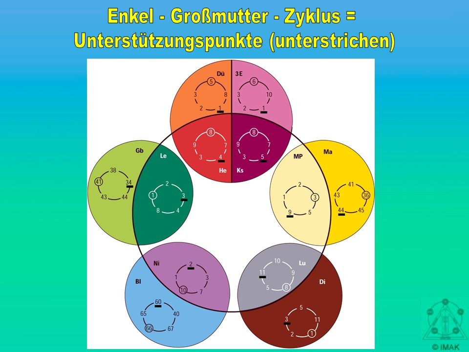 Enkel - Großmutter - Zyklus = Unterstützungspunkte (unterstrichen)
