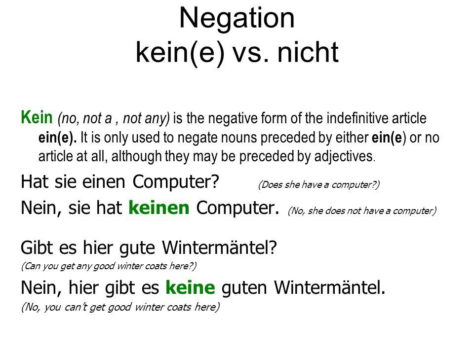 Negation kein(e) vs. nicht