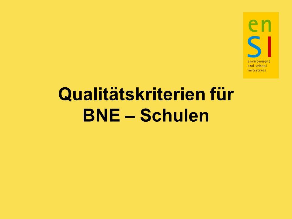Qualitätskriterien für BNE – Schulen
