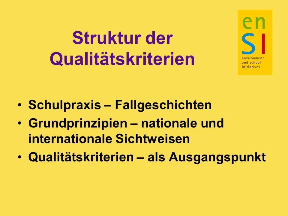 Struktur der Qualitätskriterien