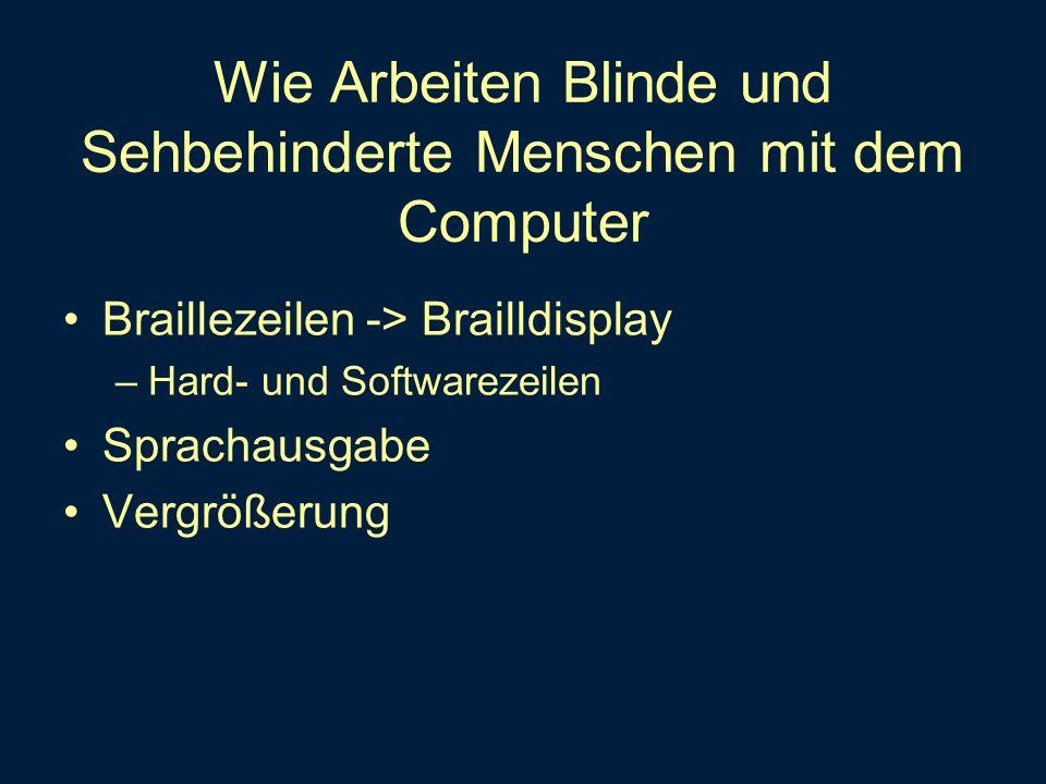Wie Arbeiten Blinde und Sehbehinderte Menschen mit dem Computer