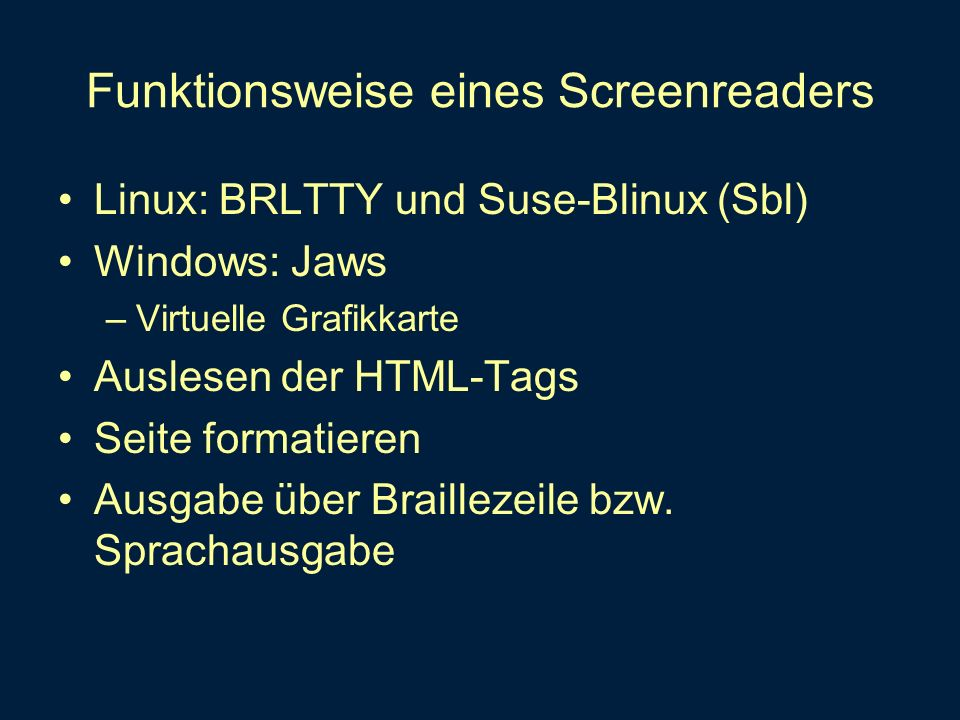 Funktionsweise eines Screenreaders
