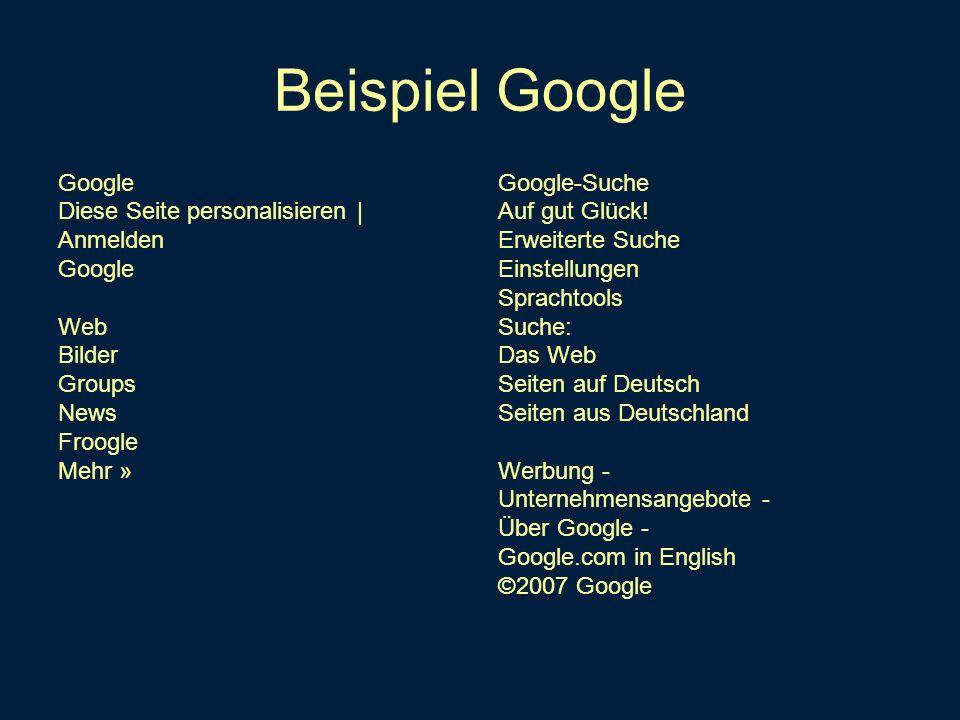 Beispiel Google Google Diese Seite personalisieren | Anmelden Web
