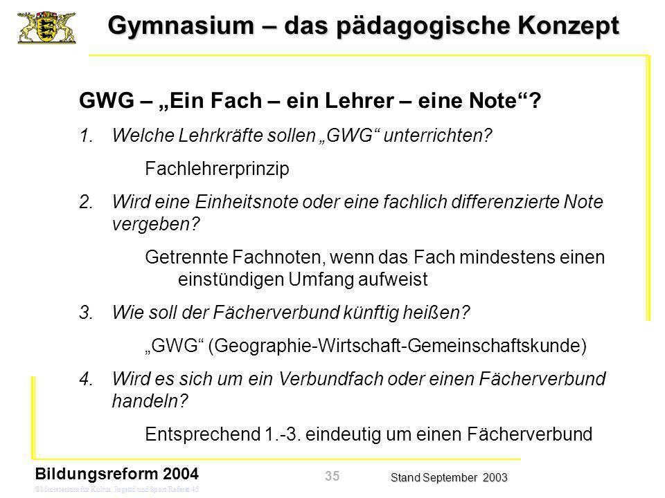 """GWG – """"Ein Fach – ein Lehrer – eine Note"""