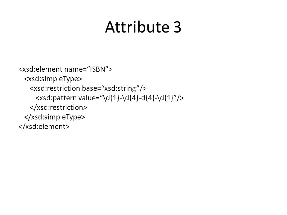 Attribute 3 <xsd:element name= ISBN > <xsd:simpleType>