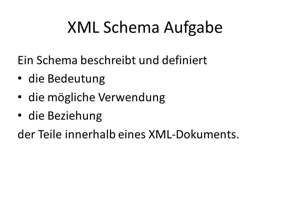 XML Schema Aufgabe Ein Schema beschreibt und definiert die Bedeutung