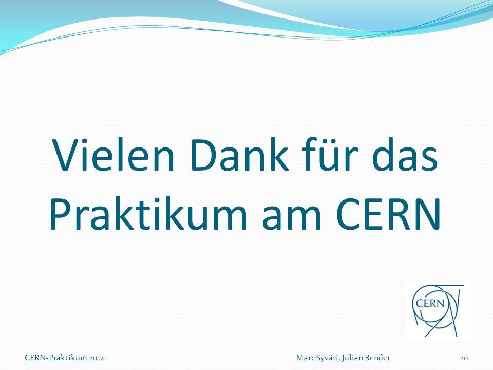 Vielen Dank für das Praktikum am CERN