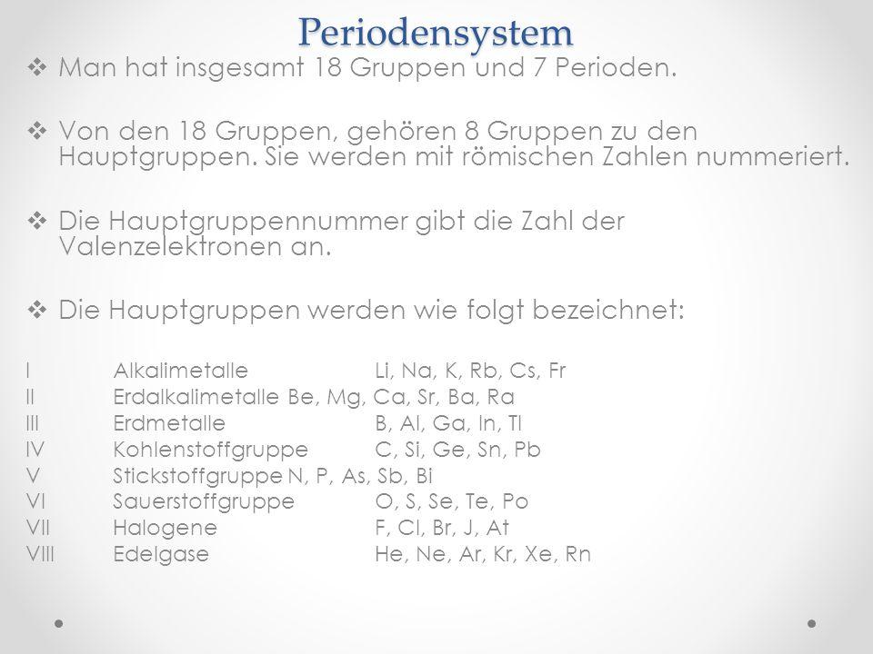 Periodensystem Man hat insgesamt 18 Gruppen und 7 Perioden.