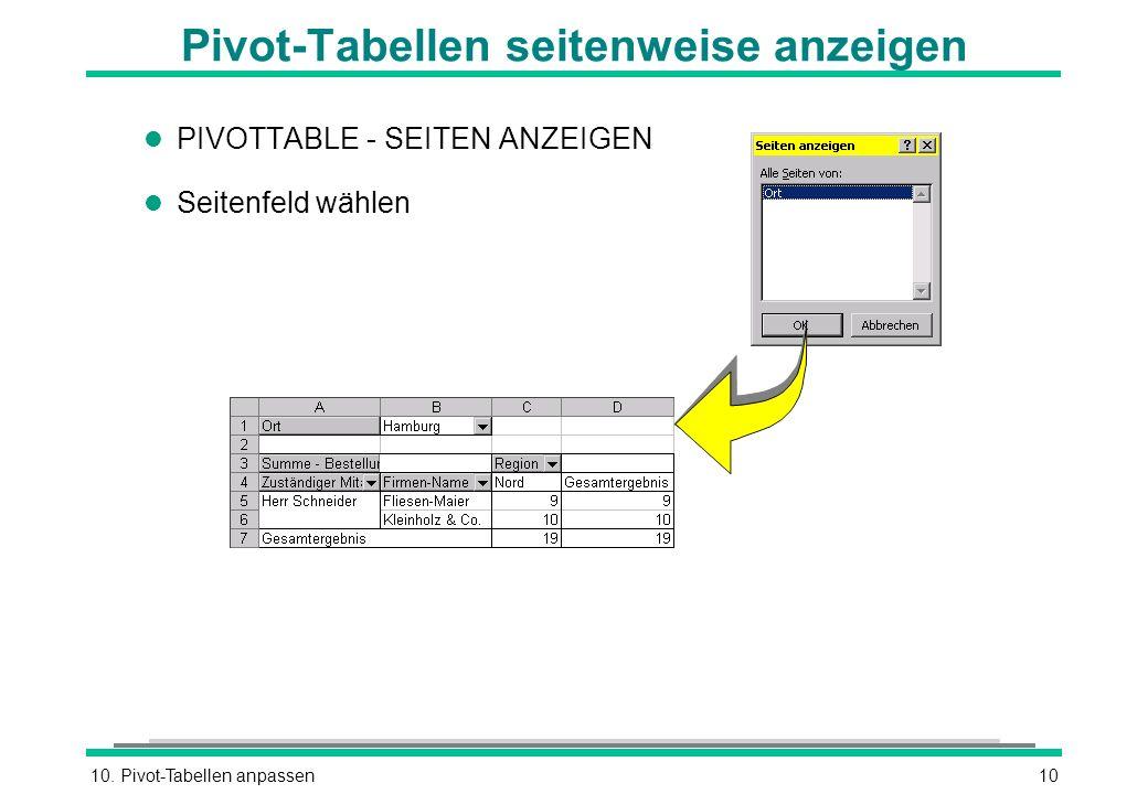 Pivot-Tabellen seitenweise anzeigen