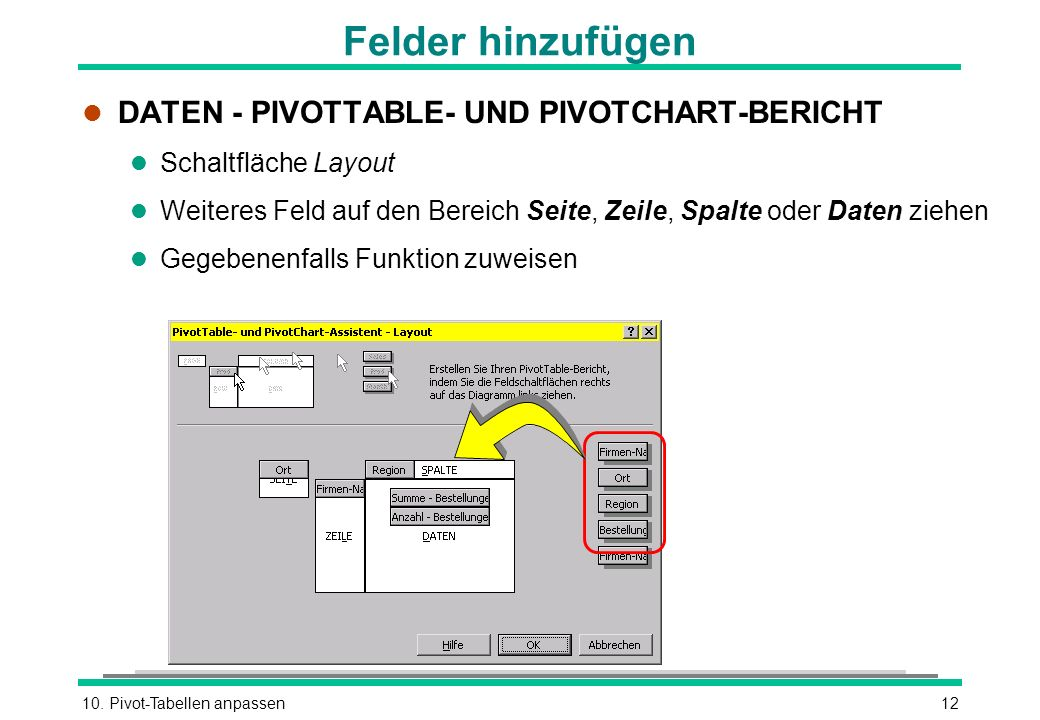 Felder hinzufügen DATEN - PIVOTTABLE- UND PIVOTCHART-BERICHT