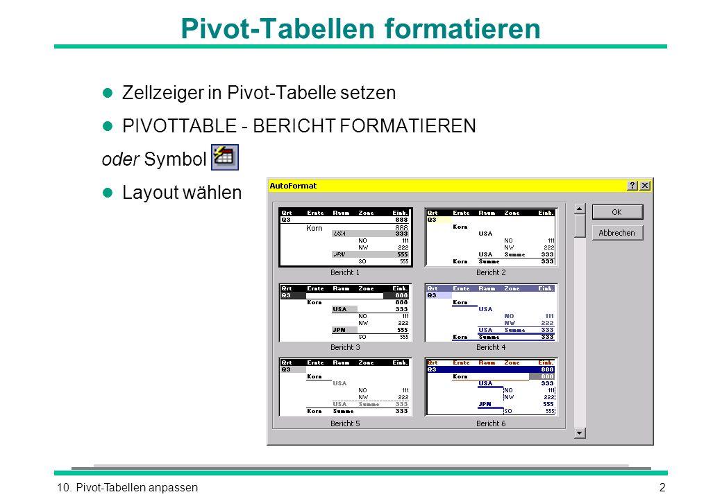 Pivot-Tabellen formatieren