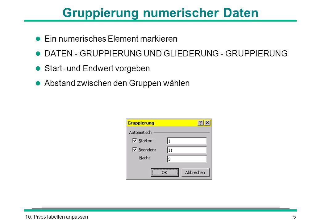 Gruppierung numerischer Daten