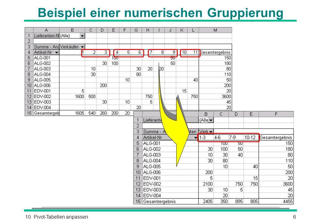 Beispiel einer numerischen Gruppierung