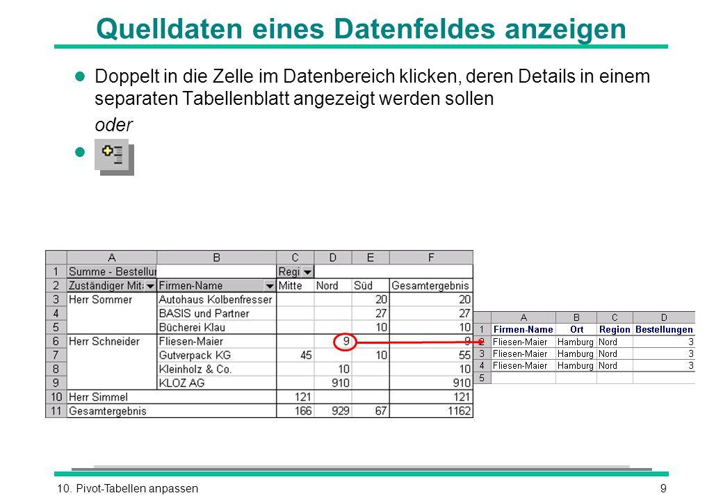 Quelldaten eines Datenfeldes anzeigen