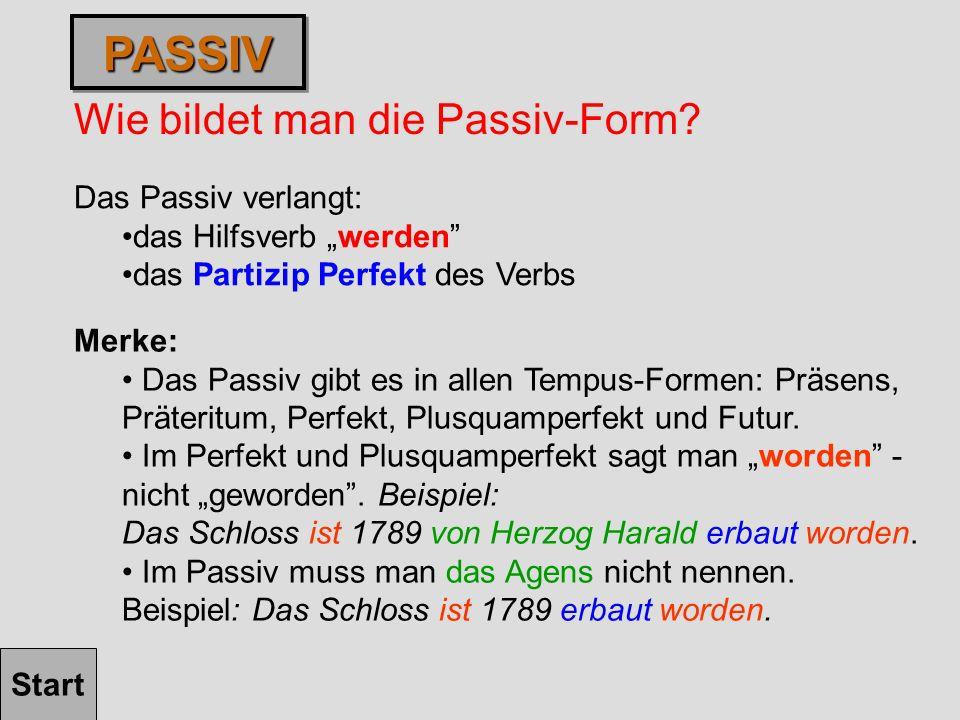PASSIV Wie bildet man die Passiv-Form Das Passiv verlangt: