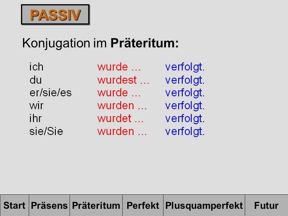 PASSIV Konjugation im Präteritum: Start Präsens Präteritum Perfekt