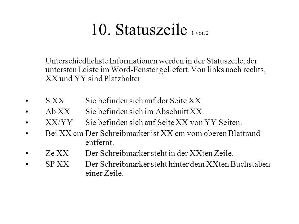 10. Statuszeile 1 von 2