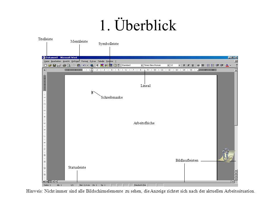 1. Überblick Titelleiste. Menüleiste. Symbolleiste. Lineal. Schreibmarke. Arbeitsfläche. Bildlaufleisten.