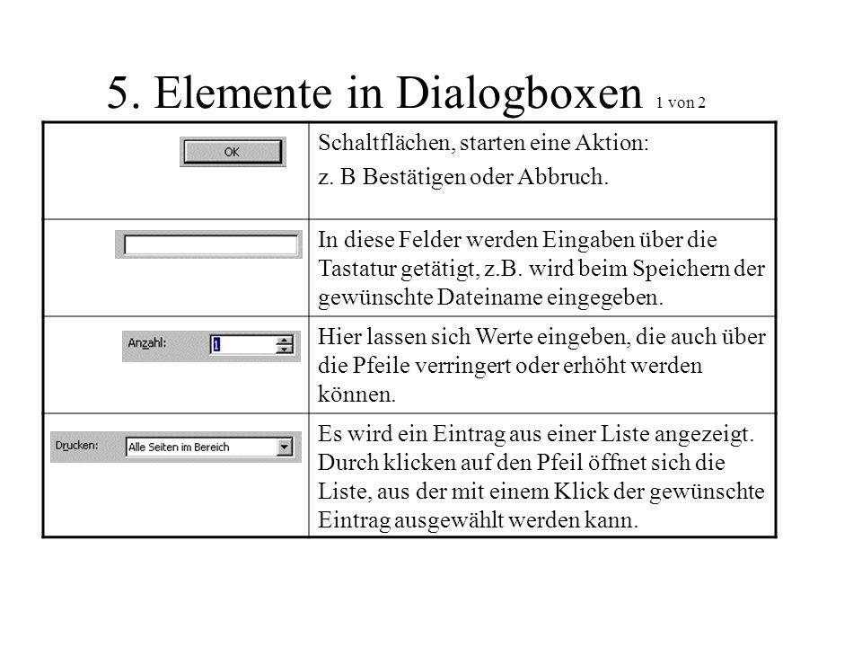 5. Elemente in Dialogboxen 1 von 2