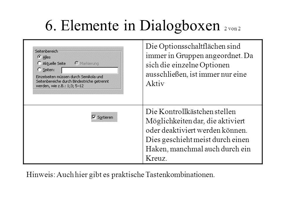 6. Elemente in Dialogboxen 2 von 2