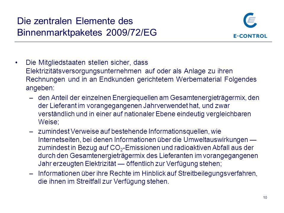 Die zentralen Elemente des Binnenmarktpaketes 2009/72/EG