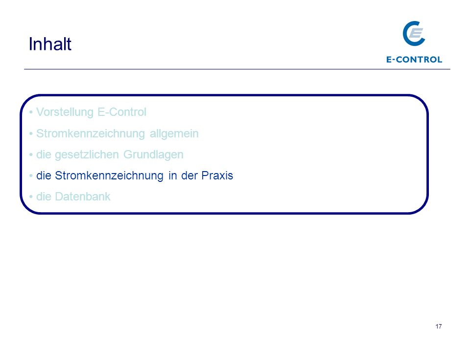 Inhalt Vorstellung E-Control Stromkennzeichnung allgemein
