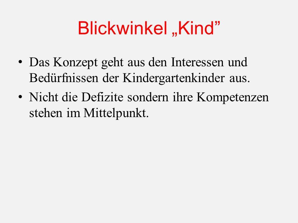 """Blickwinkel """"Kind Das Konzept geht aus den Interessen und Bedürfnissen der Kindergartenkinder aus."""