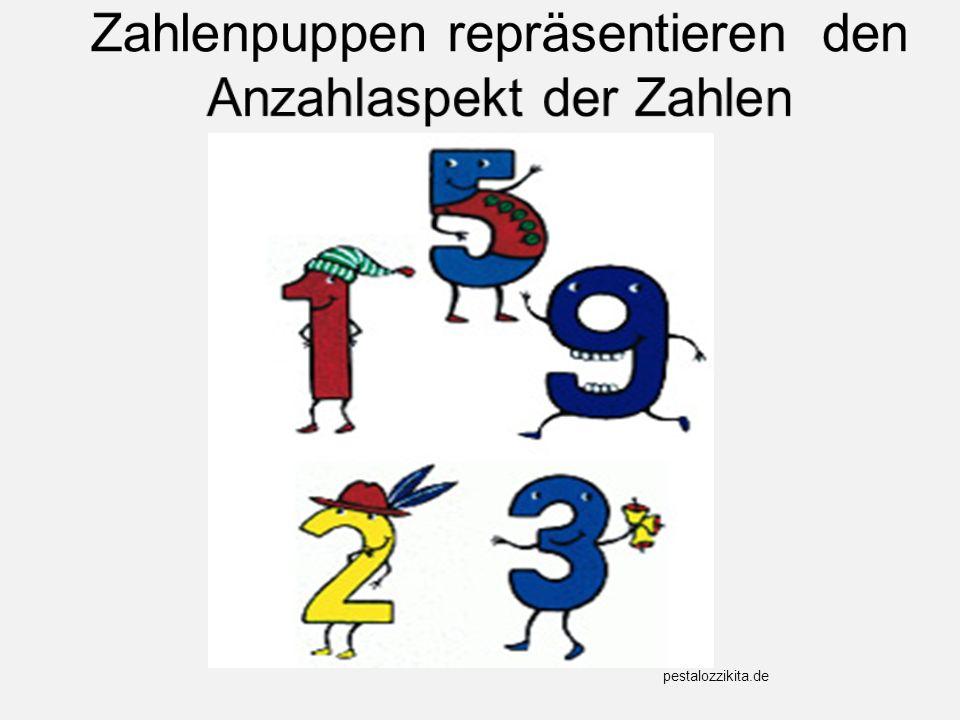 Zahlenpuppen repräsentieren den Anzahlaspekt der Zahlen