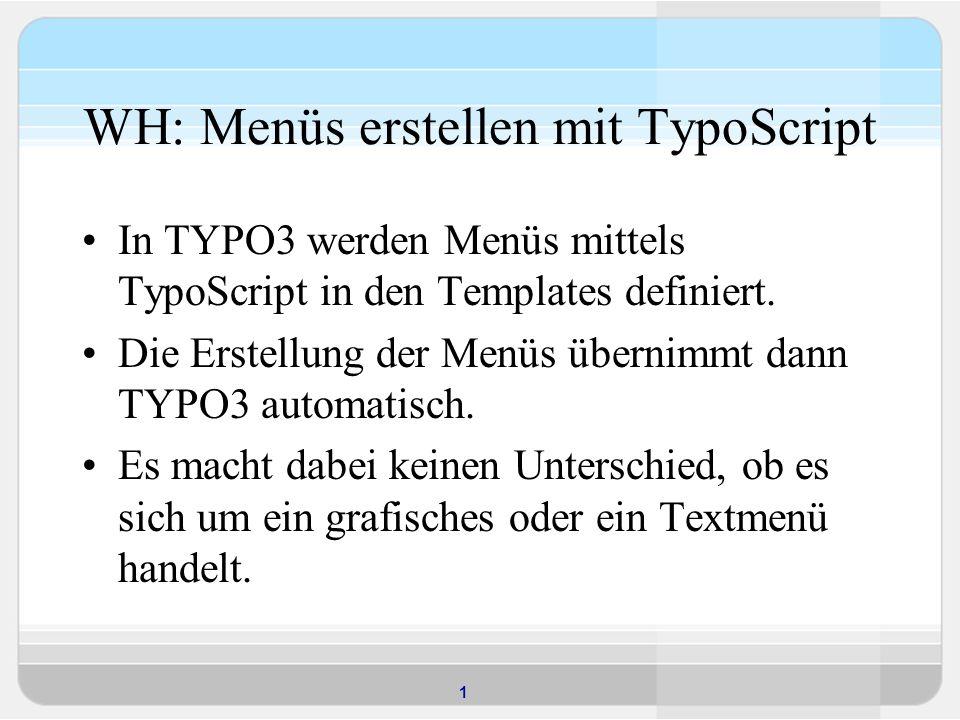 WH: Menüs erstellen mit TypoScript