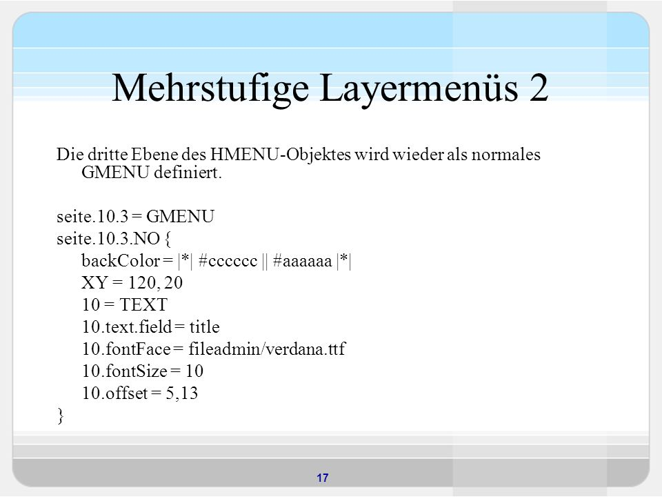 Mehrstufige Layermenüs 2